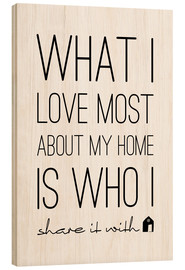 Hout print  What I love most - m.belle