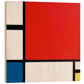 Hout print  Composition with Red, Yellow and Blue - Piet Mondriaan