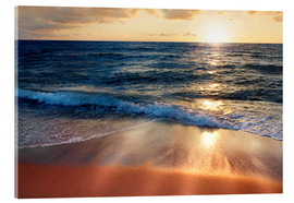 Acrylglas print  Waves at Sunset - Lichtspielart