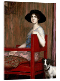 Acrylglas print  Mary von Stuck in a red chair - Franz von Stuck