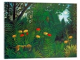 Acrylglas print  Exotic landscape with tiger and hunters - Henri Rousseau