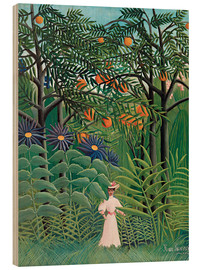 Hout print  Woman in an exotic forest - Henri Rousseau