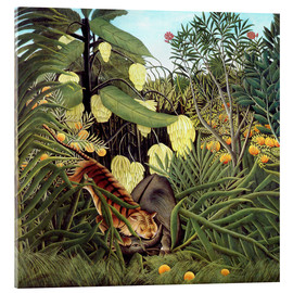 Acrylglas print  Combat of tiger and buffalo - Henri Rousseau