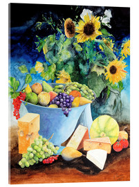 Acrylglas print  Still life with sunflowers, fruits and cheese - Gerhard Kraus