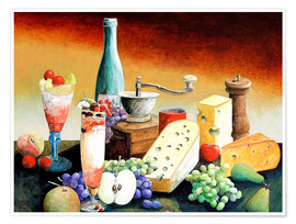 Premium poster Stil life with coffee grinder, fruits and cheese