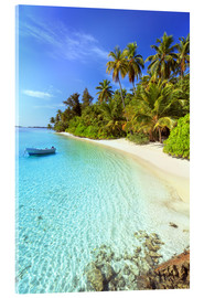 Acrylglas print  Tropical beach with a boat, Maldives - Matteo Colombo