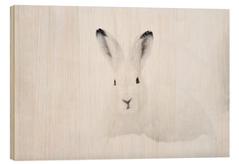 Hout print  Mountain hare in winter - Peter Wey