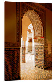 Acrylglas print  Large patio columns with azulejos decor, Islamo-Andalucian art, Marrakech Museum, Marrakech, Morocco - Guy Thouvenin