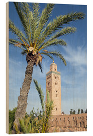 Hout print  Minaret of the Koutoubia Mosque, UNESCO World Heritage Site, Marrakech, Morocco, North Africa, Afric - Nico Tondini