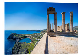 Acrylglas print  Acropolis of Lindos, Rhodes, Dodecanese Islands, Greek Islands, Greece, Europe - Michael Runkel