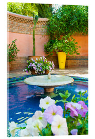 Acrylglas print  Fountain and flowers in the Majorelle Gardens (Gardens of Yves Saint-Laurent), Marrakech, Morocco, N - Matthew Williams-Ellis