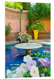 PVC print  Fountain and flowers in the Majorelle Gardens (Gardens of Yves Saint-Laurent), Marrakech, Morocco, N - Matthew Williams-Ellis