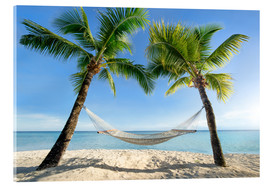 Acrylglas print  Hammock at the beach in the south pacific - Jan Christopher Becke