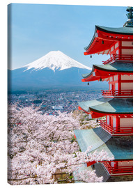 Canvas print  Chureito Pagoda with Fuji and cherry blossoms - Jan Christopher Becke