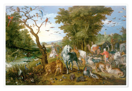 Premium poster Noah leads the animals into the ark