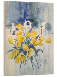 Hout print  View with tulips - Franz Heigl