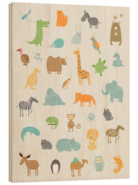 Hout print  All my zoo animals - Petit Griffin