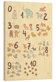 Hout print  Number of animals - Petit Griffin