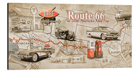 Aluminium print  Route 66 Map - Georg Huber