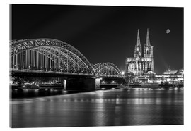 Acrylglas print  Cologne Cathedral and Hohenzollern Bridge at night (b / w) - rclassen