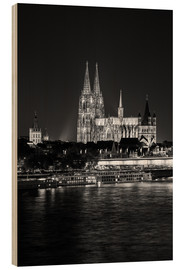 Hout print  Cologne Cathedral at night - rclassen