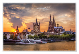 Premium poster  Cologne Cathedral and Great St Martin - Jens Korte