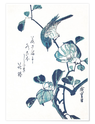 Premium poster Camellia and Bird