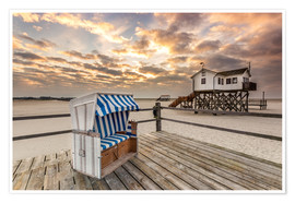 Premium poster  In the morning the North Sea beach of Sankt Peter Ording - Dennis Stracke