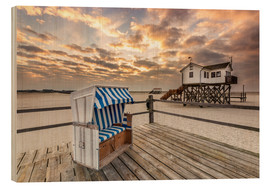 Hout print  In the morning the North Sea beach of Sankt Peter Ording - Dennis Stracke