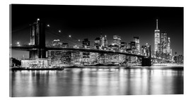 Acrylglas print  New York City Skyline with Brooklyn Bridge (monochrome) - Sascha Kilmer