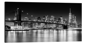 Aluminium print  New York City Skyline with Brooklyn Bridge (monochrome) - Sascha Kilmer