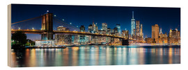 Hout print  New York City Skyline with Brooklyn Bridge (panoramic view) - Sascha Kilmer