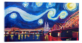 Acrylglas print  Starry Night in Cologne - Van Gogh inspirations on Rhine with Cathedral and Hohenzollern Bridge - M. Bleichner