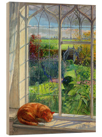 Hout print  Cat in the window in summer - Timothy Easton