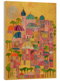 Hout print  The Golden City - Laila Shawa