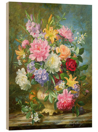 Hout print  Peonies and mixed flowers - Albert Williams