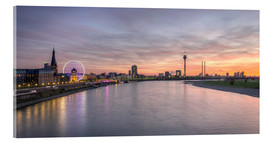 Acrylglas print  Dusseldorf Skyline at blazing red sunset - Michael Valjak