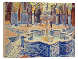 Hout print  The blue fountain - Lucy Willis