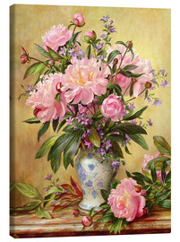 Canvas print  Vase of peonies and canterbury bells - Albert Williams