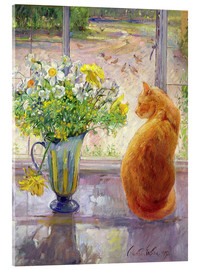 Acrylglas print  Cat with flowers in the window - Timothy Easton