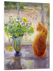 PVC print  Cat with flowers in the window - Timothy Easton