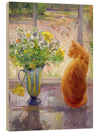 Hout print  Cat with flowers in the window - Timothy Easton