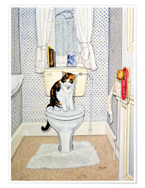 Premium poster Cat on the Loo