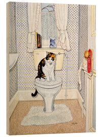 Hout print  Cat on the Loo - Ditz
