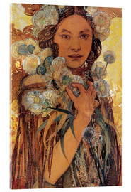 Acrylglas print  Native American woman with flowers and feathers - Alfons Mucha
