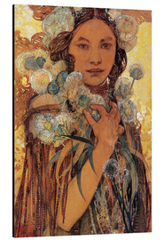 Aluminium print  Native American woman with flowers and feathers - Alfons Mucha