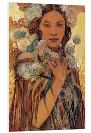 PVC print  Native American woman with flowers and feathers - Alfons Mucha