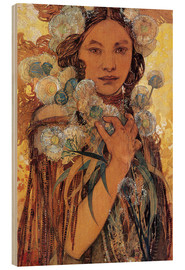 Hout print  Native American woman with flowers and feathers - Alfons Mucha