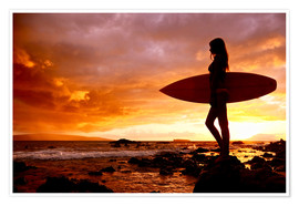 Premium poster Silhouette of a surfer