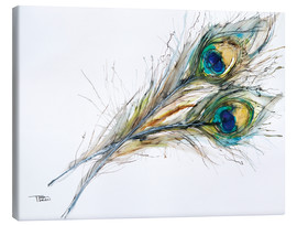 Canvas print  Two peacock feathers - Tara Thelen